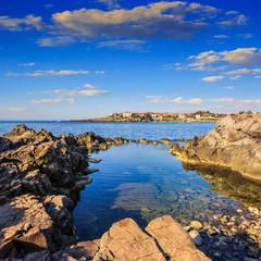 sea coast  against the old city