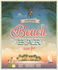 Wall Mural - Vintage Beach Bar poster.