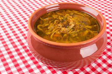 mushroom soup in a bowl