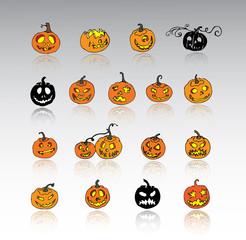 Set of Halloween pumpkins. Jack o lantern collection.