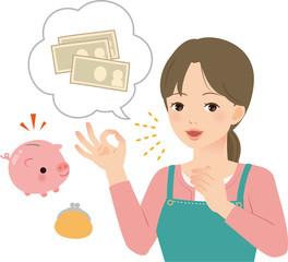家計に余裕があって喜ぶ主婦