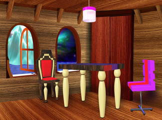 The wooden room with furniture