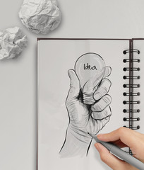 Hand drawn light bulb with IDEA word on note book as concept