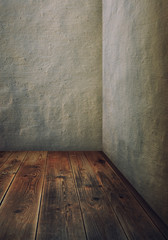 room with grey walls and wooden floor