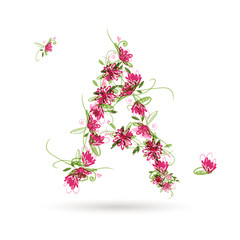 Floral letter A for your design