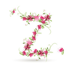 Floral letter Z for your design