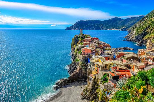Scenic view of colorful village Vernazza in Cinque Terre