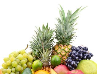 collection fruits isolated on white