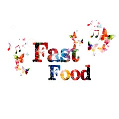 """Colorful vector """"Fast Food"""" background with butterflies"""