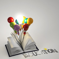 open book with pencil lightbulb 3d and design word EDUCATION as