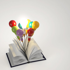 open book with pencil lightbulb 3d as concept