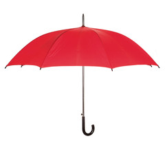 Opened red umbrella over white