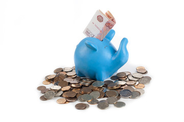 piggy bank with Russian rubles