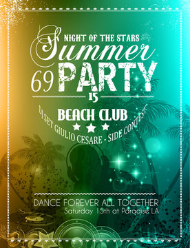 Summer Party Flyer for Music Club events