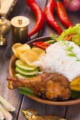 nasi ayam penyet, indonesian fried chicken rice