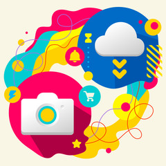 Photo camera and cloud on abstract colorful splashes background