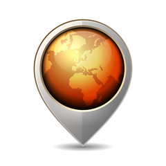Map Pointer with Earth Globe Icon. Vector