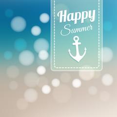 Summer card, blurred beach background, bokeh lights, vector