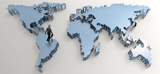 businessman walking to social network human 3d on world map as c