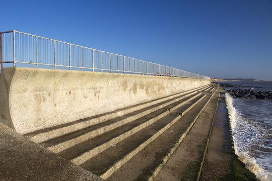 Sea wall at Southwold, Suffolk, England