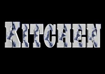 Kitchen word art in white marble with blue veins