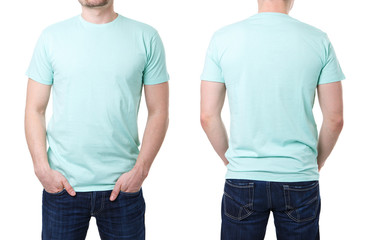 Turquoise t shirt on a young man template