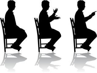 Man in position sitting , vectors work