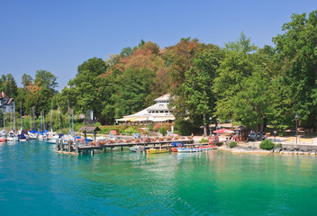 Resort Krumpendorf am Worthersee and Lake Worth . Austria