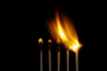 Burning wooden matchsticks
