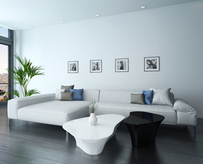 Living room interior with white couch and portraits on wall