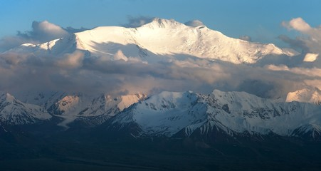 Evening view of Lenin Peak - Kyrgyzstan