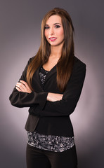 Attractive Brunette Female Business Woman Arm Crossed Office