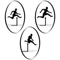Athletics. Running hurdles