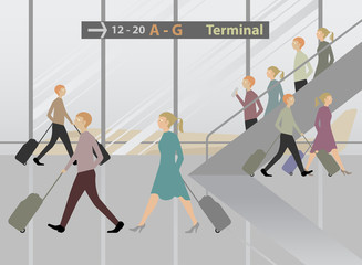 Terminal Airport cartoon vector background