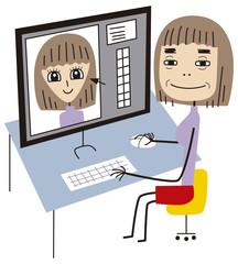 画像編集ソフトで顔を修正する女性