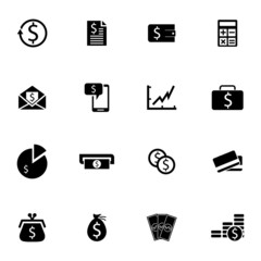 Vector black  money icons set