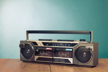 Retro double cassette tape recorder on table