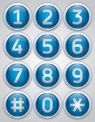Blue reflection glossy buttons with numbers, vector buttons set