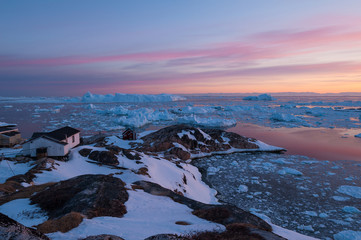 Arctic light at sunset in Ilulissat, Greenland