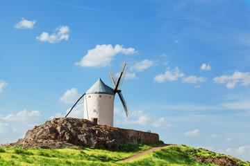 Ancient windmills in sunny summer day, Konsuegra, Spain