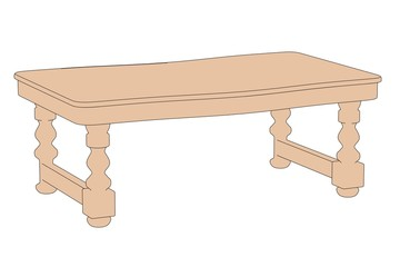 cartoon image of old kitchen table