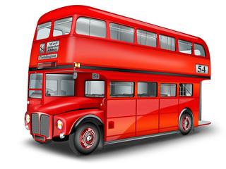 englischer Doppeldeckerbus freigestellt