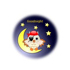 Icona della buonanotte con gufo pirata