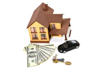 house, car, keys