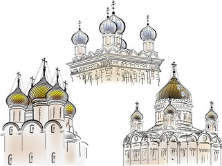 three isolated orthodox cathedrals