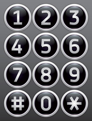 Black reflection glossy buttons with numbers, vector buttons set