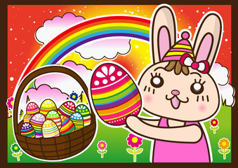 celebrate Happy Easter  bunny and eggs at the rainbow sky