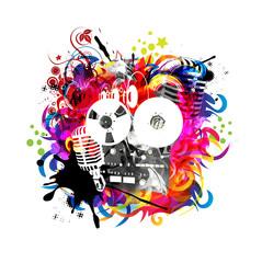 яркий абстрактный  музыкальный фон
