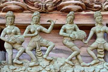 musician wood carved with Thai style
