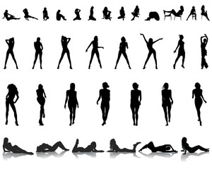 Black silhouettes of beautiful girls in various poses, vector